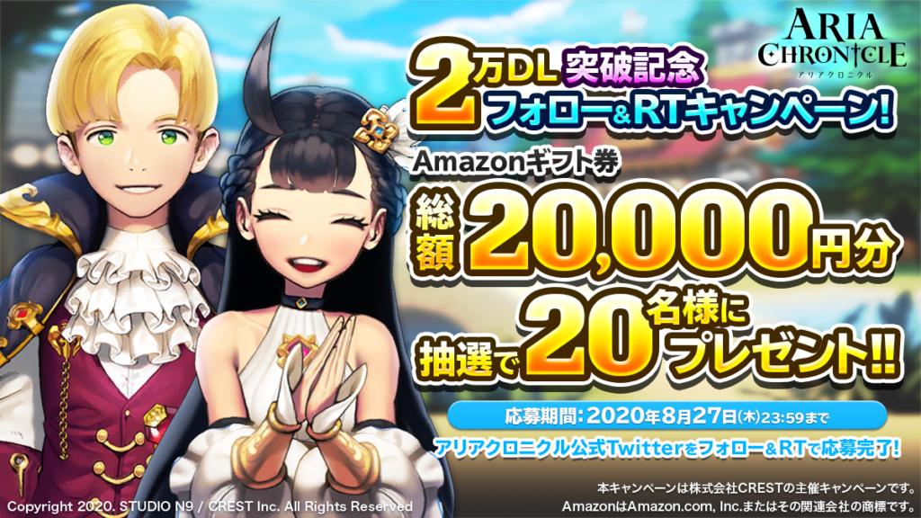 「ARIA CHRONICLE – アリアクロニクル -」2万DL突破記念キャンペーンを開催!